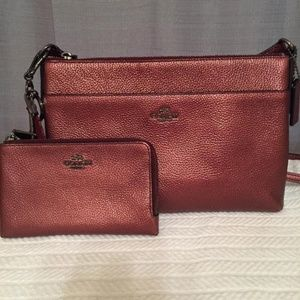 Metallic Pebble Leather Crossbody and Wallet